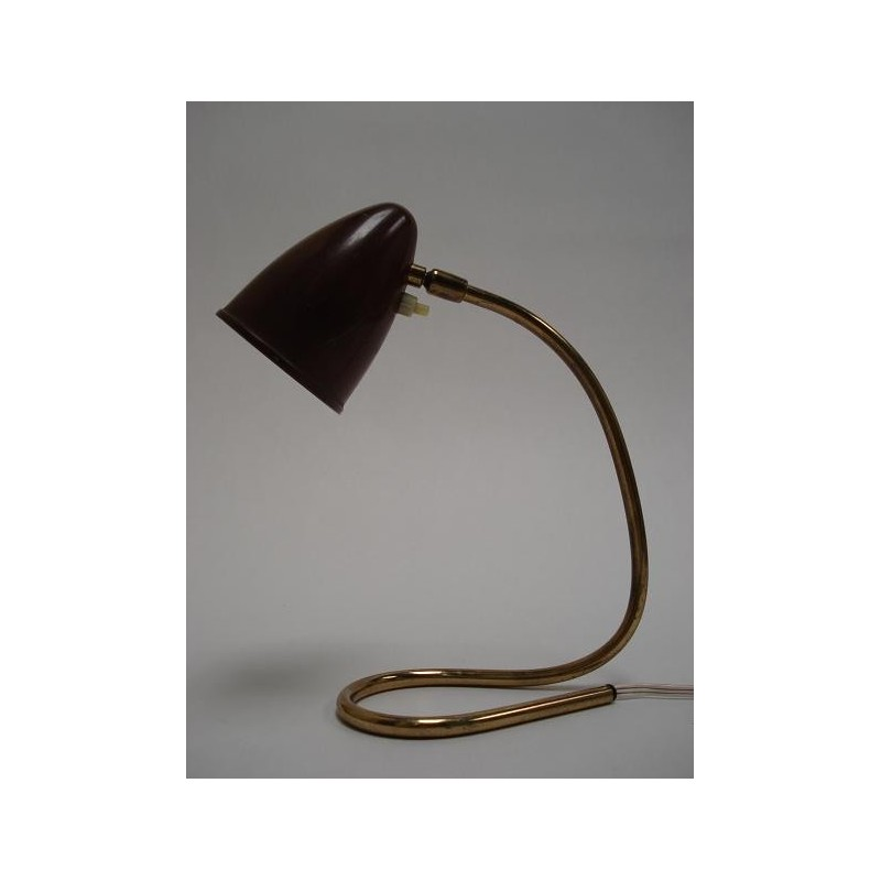 Brown/ brass 1950's table lamp