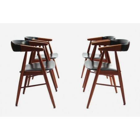 Set of 4 chairs in teak and skai