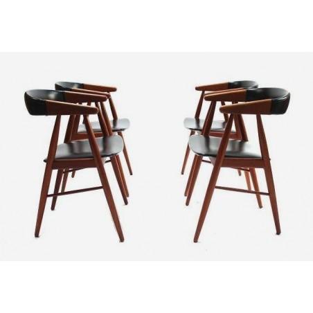 Set van 4 stoelen in teak en skai