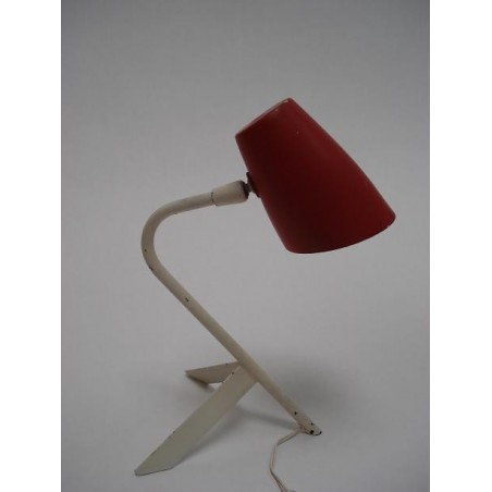 Red/white 1950's table lamp