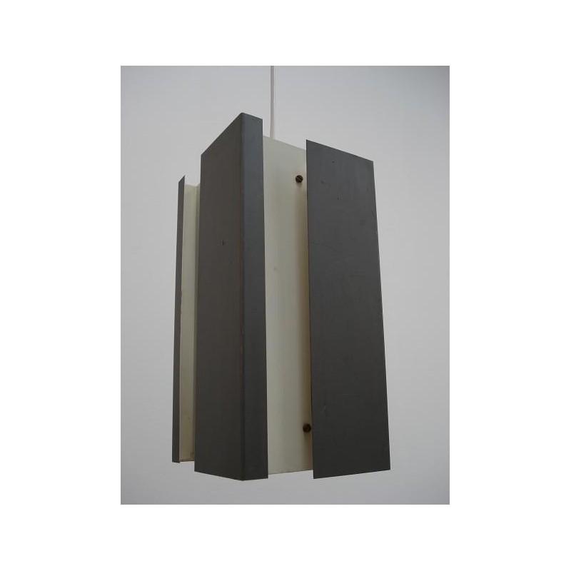 Grey/white metal hanging lamp 1950's