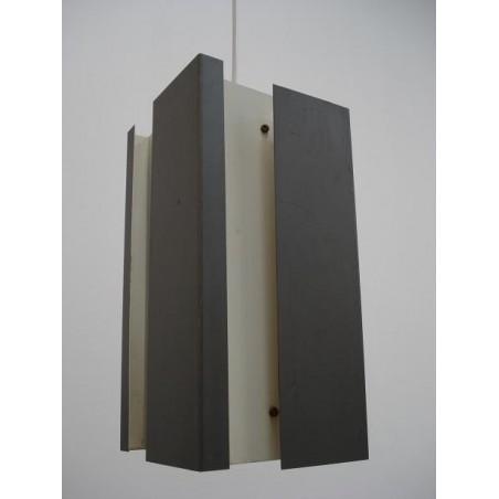 Grijs/wit metalen hanglamp 1950's