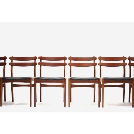 Set van 6 eetkamerstoelen in teak