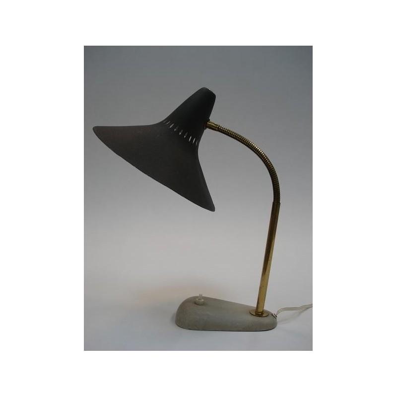 50's tafellamp met grijs/zwarte kap