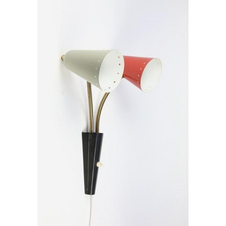 Wall lamp with grey and red shade
