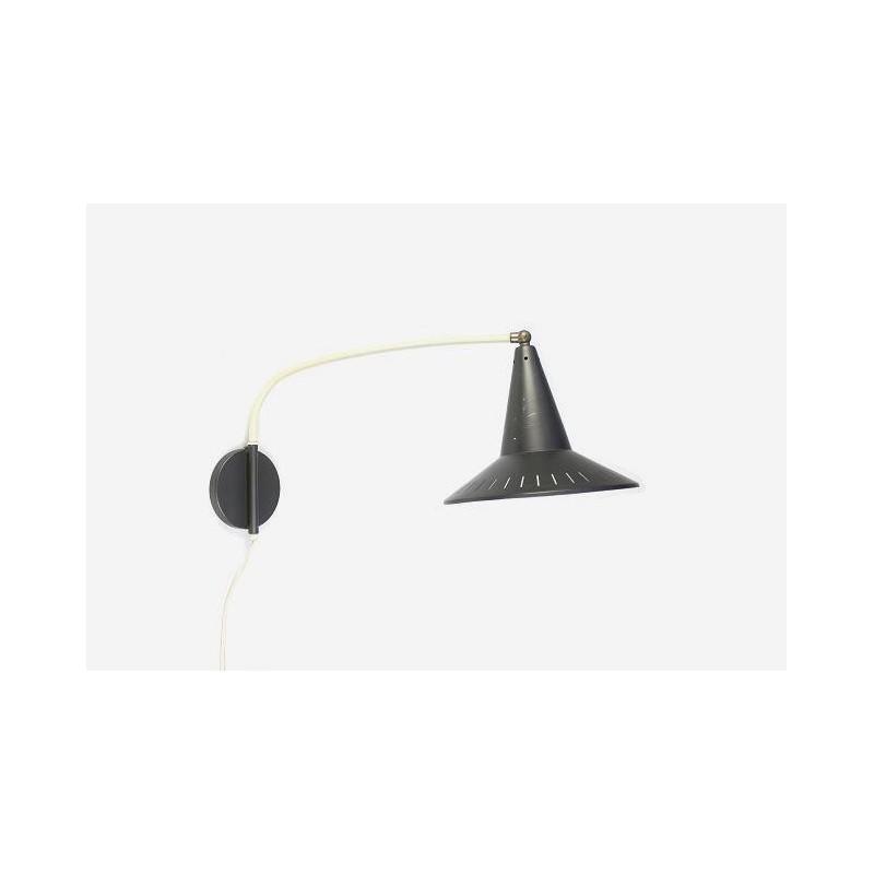 Wandlamp met grijze kap