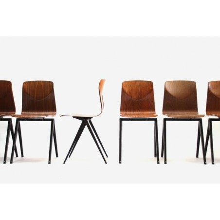 Set of 6 industrial Thur-op-seat chairs