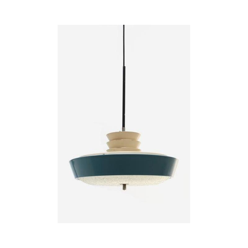 Blauwe hanglamp uit de jaren 50