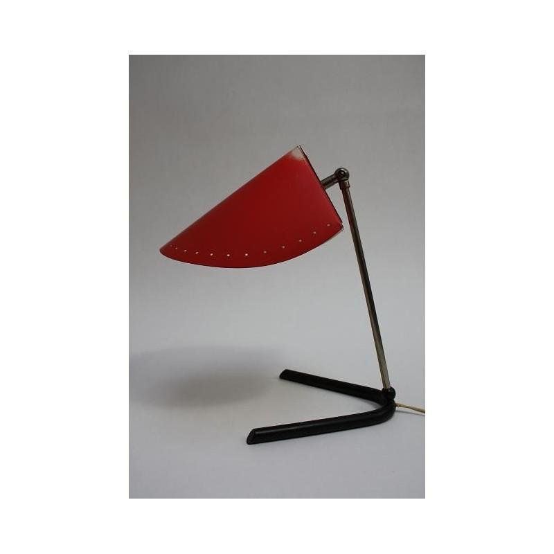 1950's design tafellamp rode kap