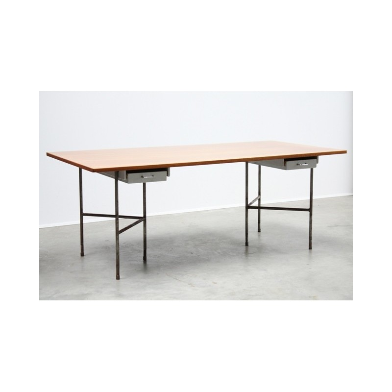 Large table-/ desk with metal base