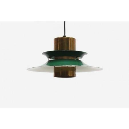 Schijven hanglamp koper/groen