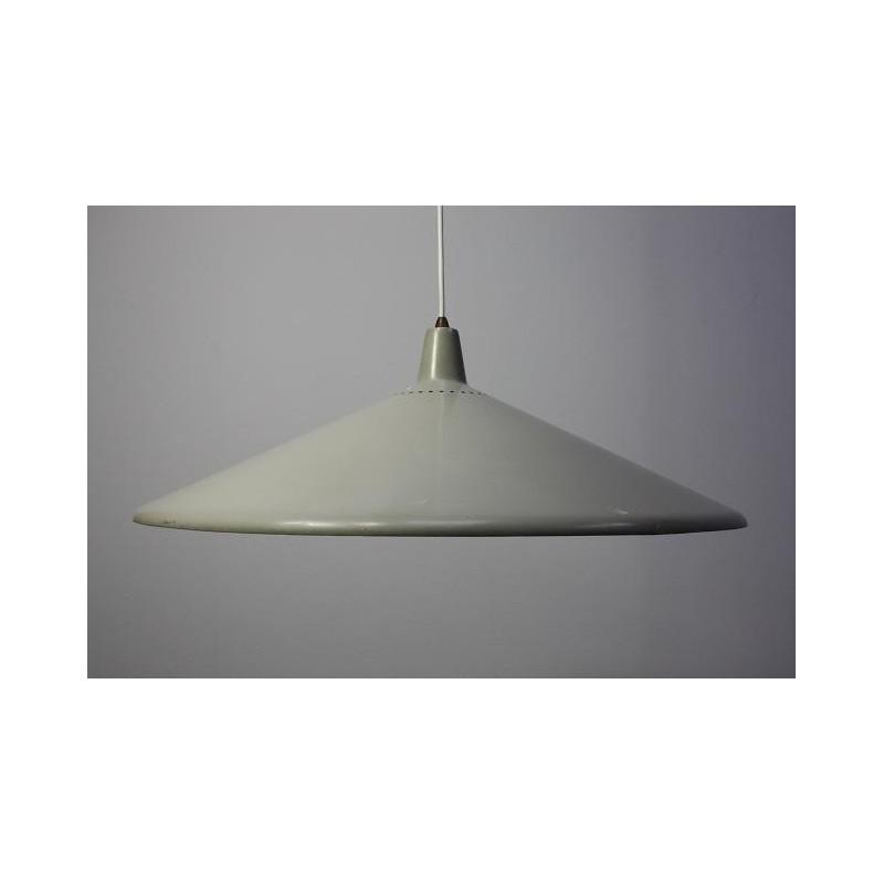 Grey metal 1950's hanging lamp