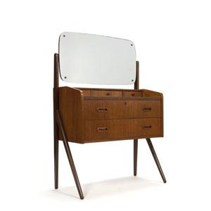 Deense toilettafel met spiegel in teak